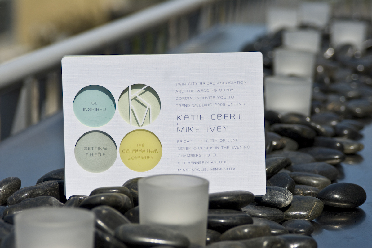 Yellow, blue, and silver acrylic wedding invites