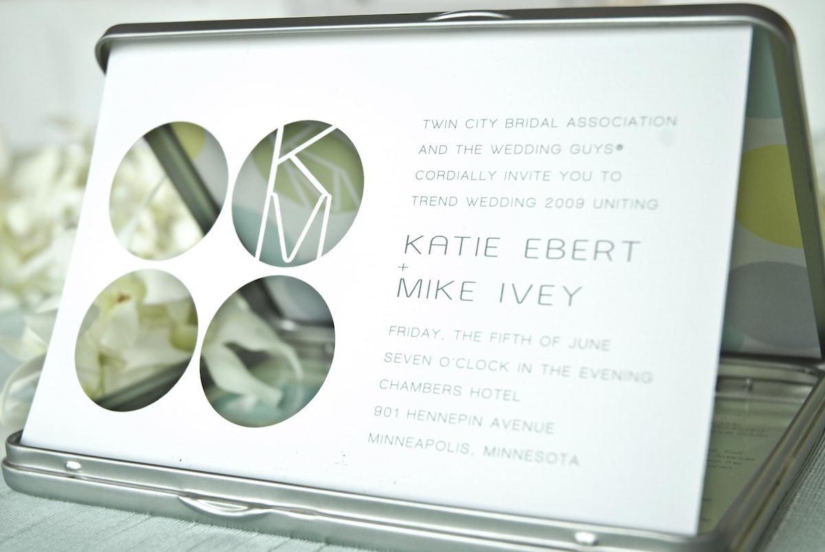 Modern art silver wedding invitations