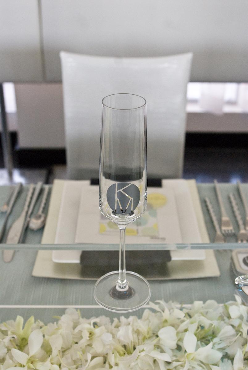 Custom monogram wedding champagne flute