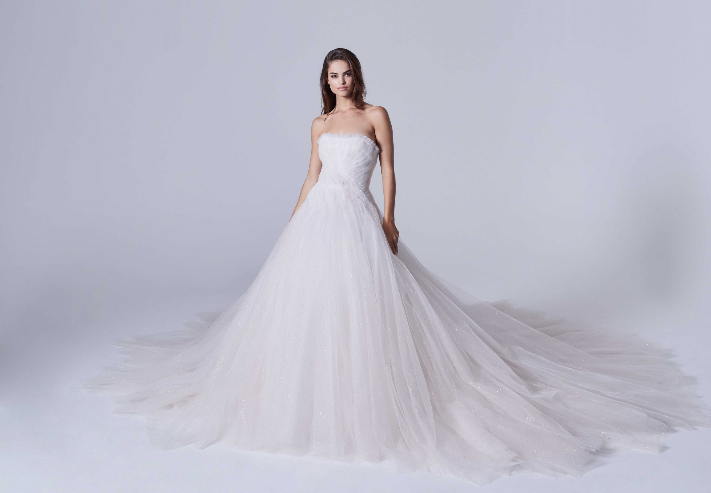 Strapless wedding ballgown made of sparkly tulle