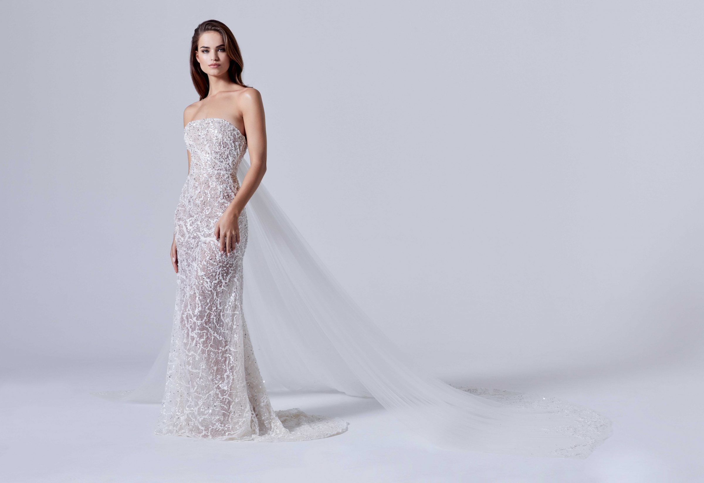 A-line bridal gown with embellished sequins and detachable tulle train