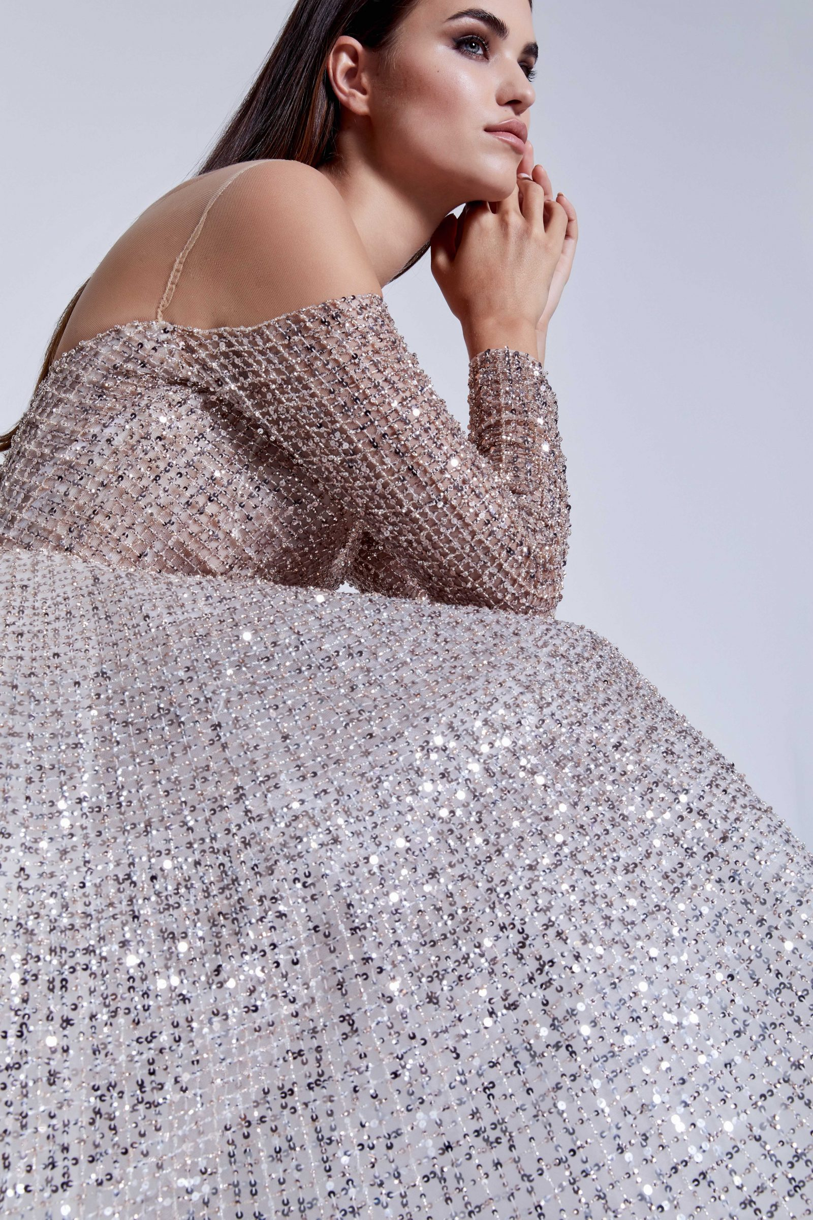 Long-sleeve sparkle bridal gown