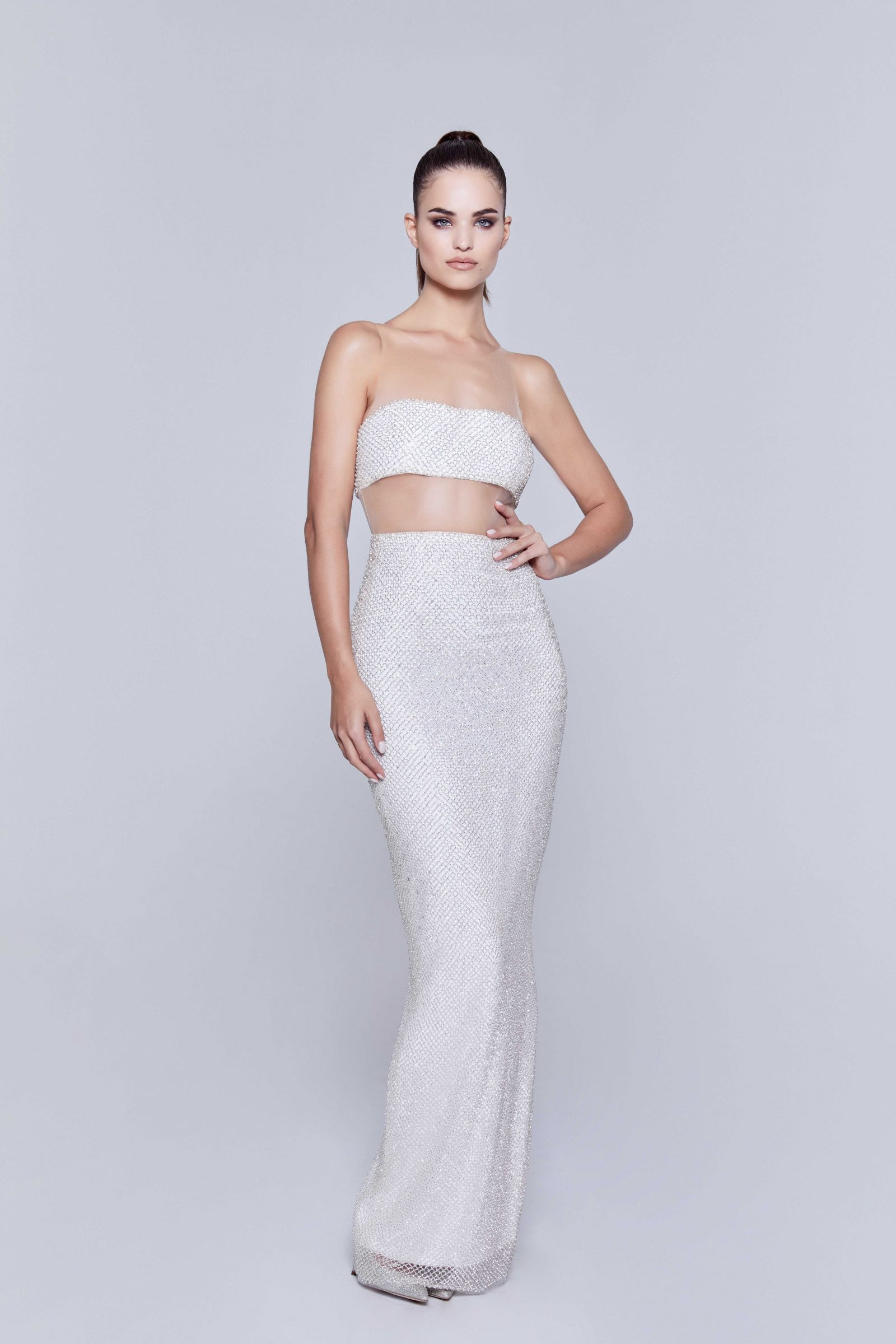Two-piece bridal look with strapless top and a-line skirt