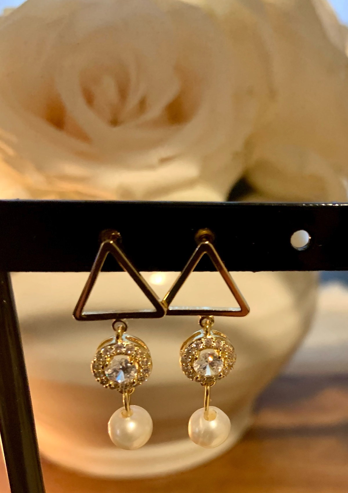 Geometric bridal earrings with cubic zirconia and pearls