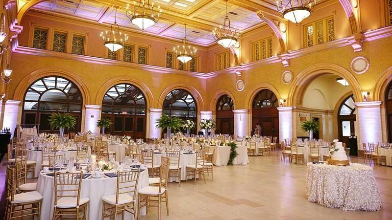 Historic Minneapolis hotel venue reception set up in the ballroom of the Renaissance Minneapolis Hotel, the Depot