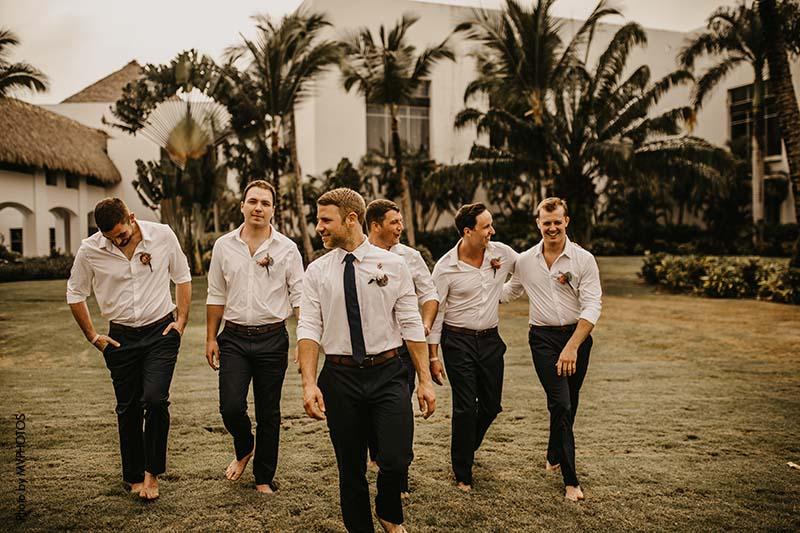 Groom and groomsmen in Destination Wedding attire