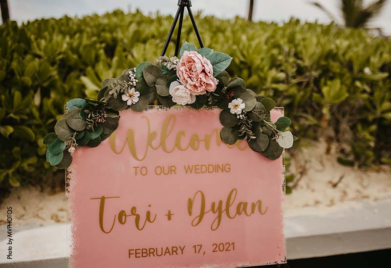 Pink and gold wedding welcome sign