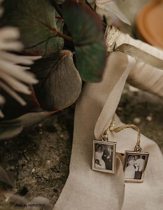 Photos of grandparents on bridal bouquet