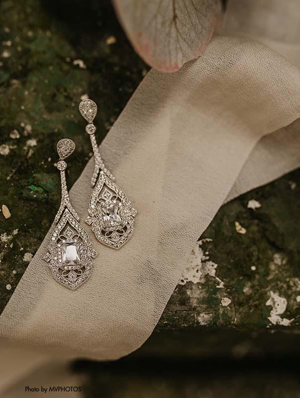 Long vintage bridal earrings