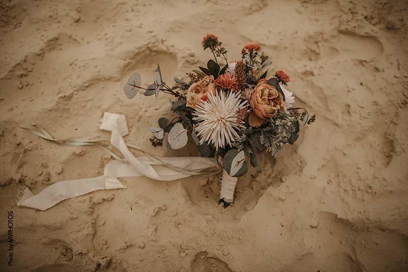 Silk flowers wedding bouquet