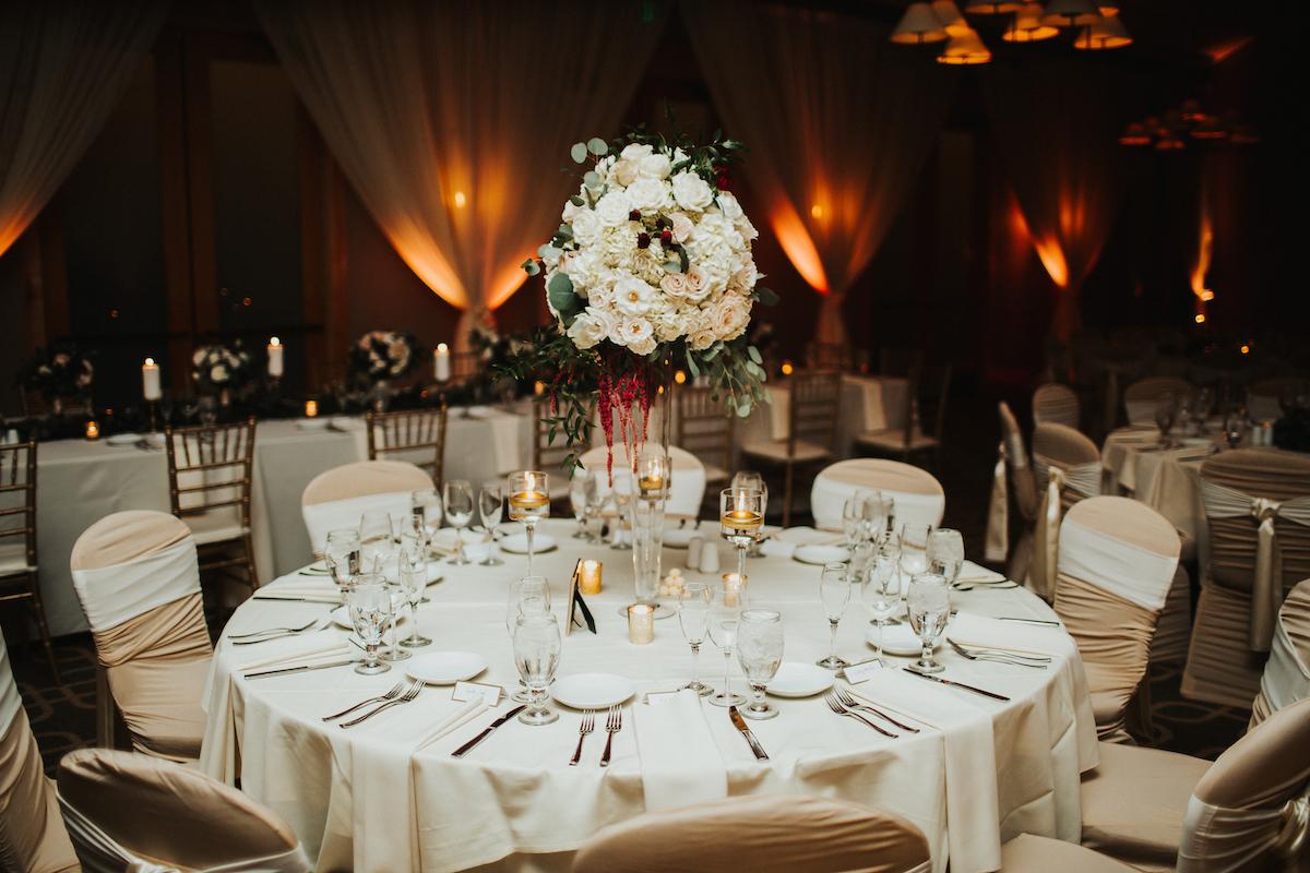 Ballroom elegant wedding tabletop at luxury golf course