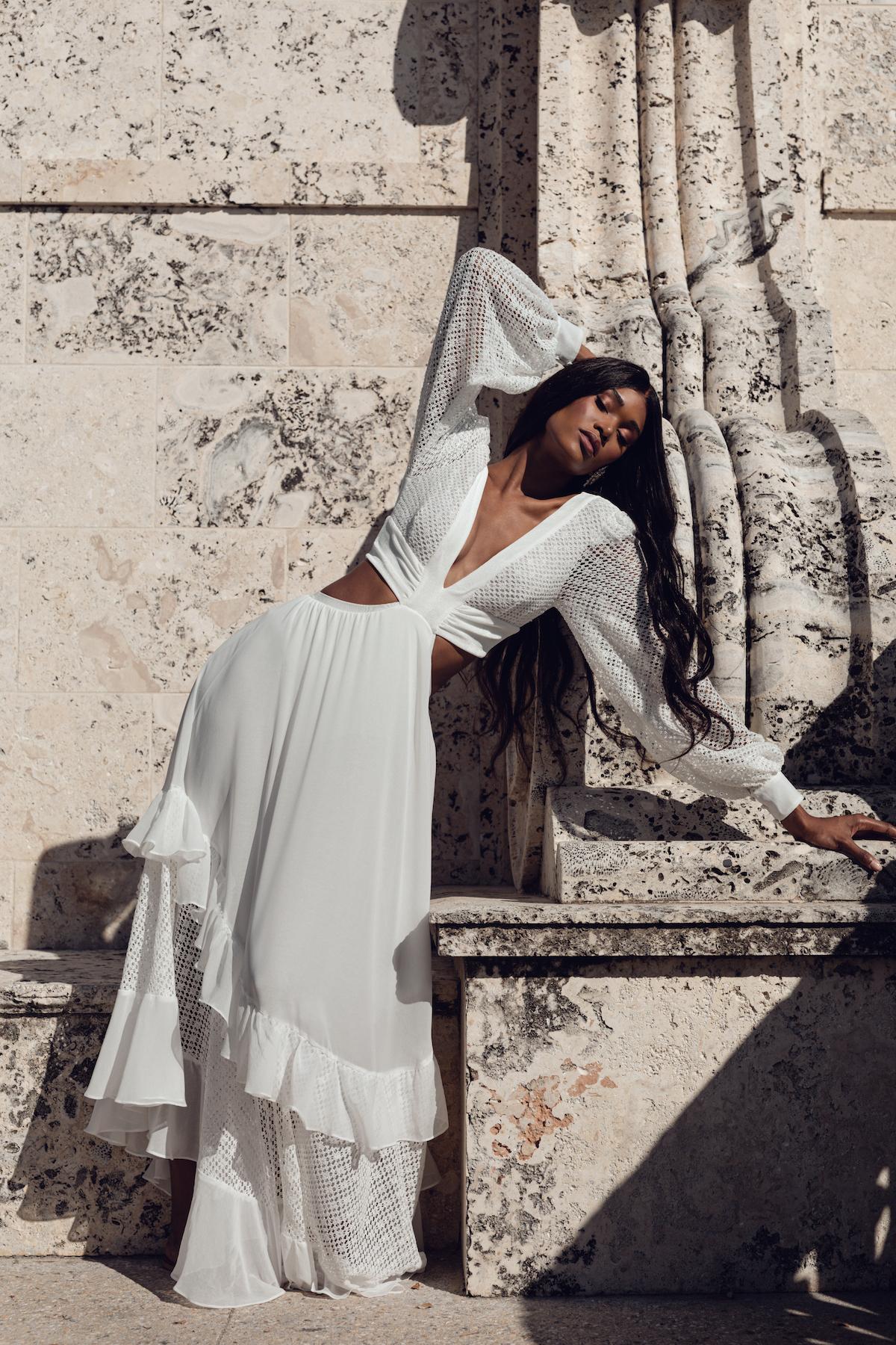Bridal model in beach wedding dress