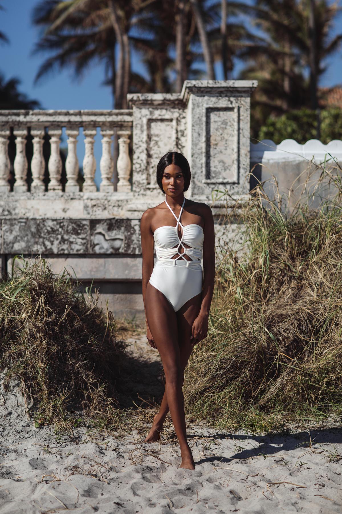 White bridal swimsuit