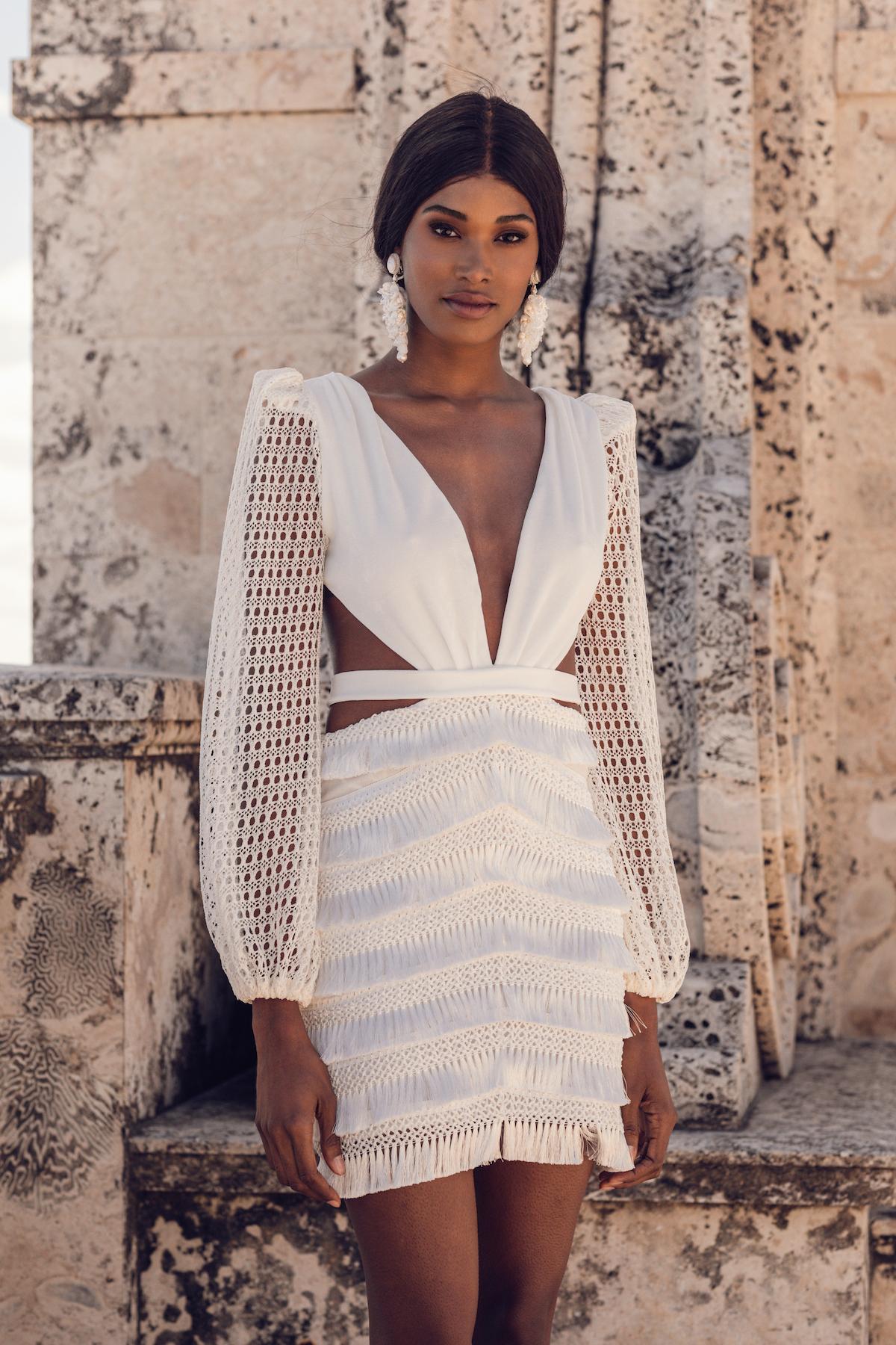 Short long-sleeve white wedding dress