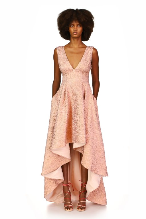 Blush v-neck mother of the bride trend gown with high-low skirt