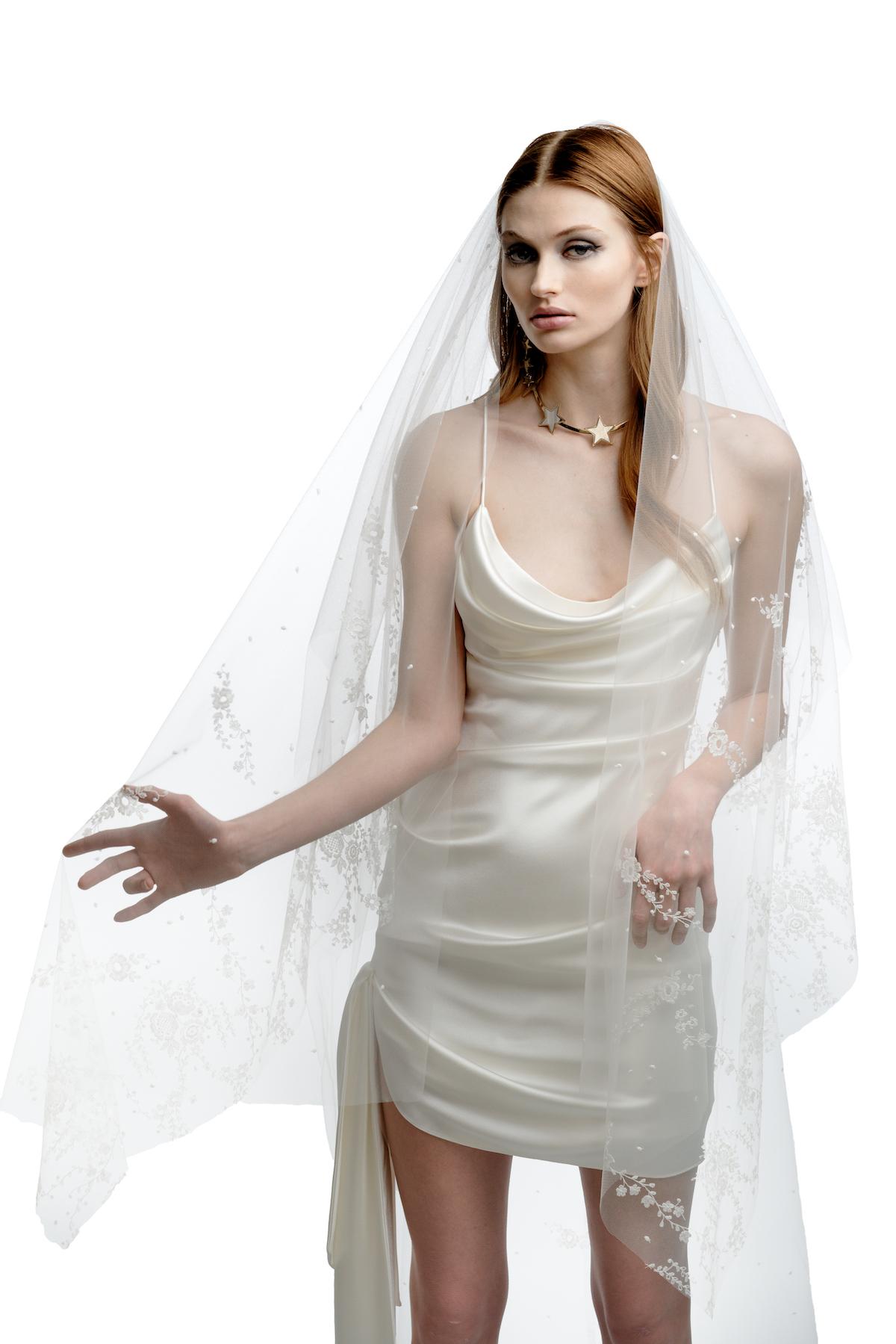 Short white satin wedding dress with cowl neck