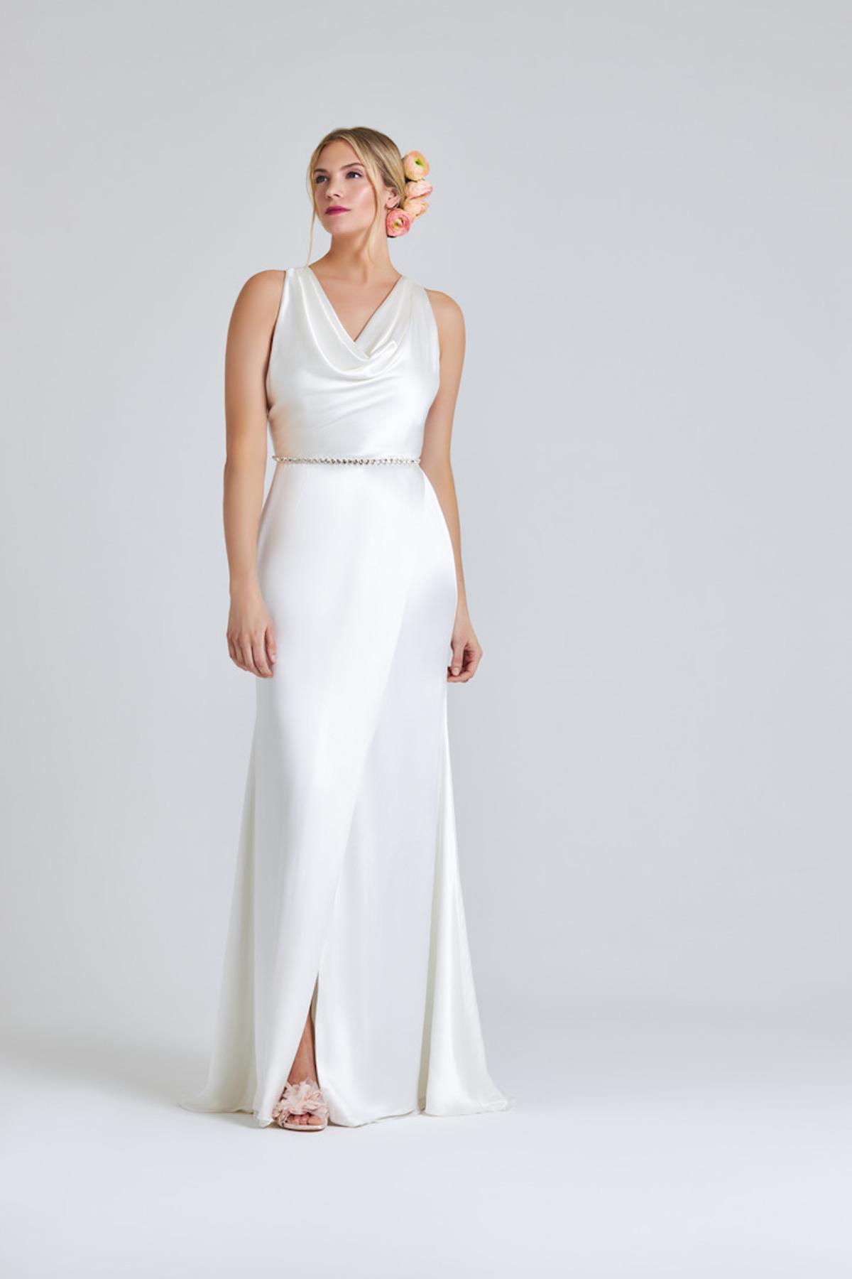 Long crepe dress with cowl neck