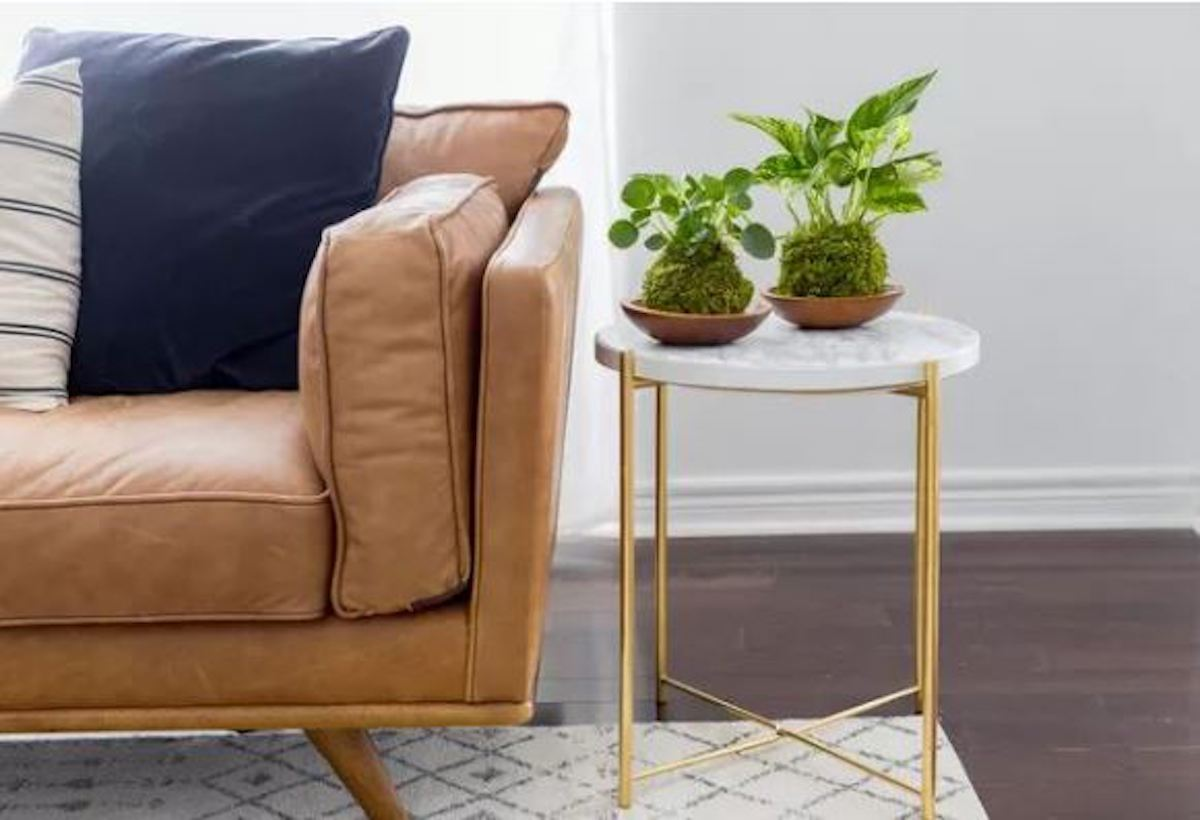 Cozy home staging decor with marble side table with brass legs and a brown leather couch