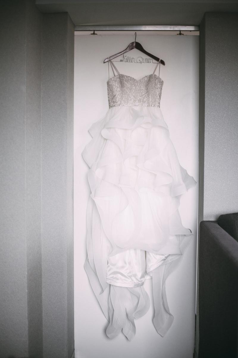 Sweetheart neckline wedding dress with horsehair skirt