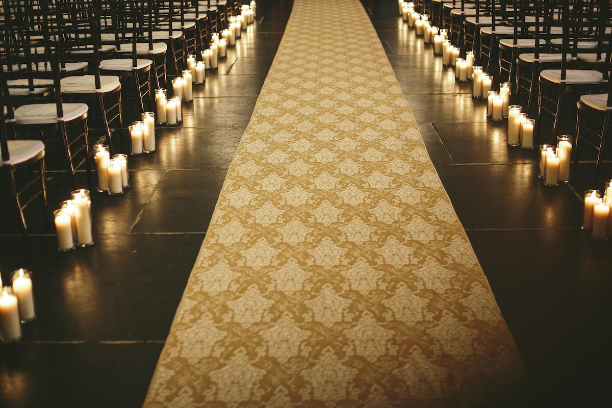 Industrial wedding venue aisle runner