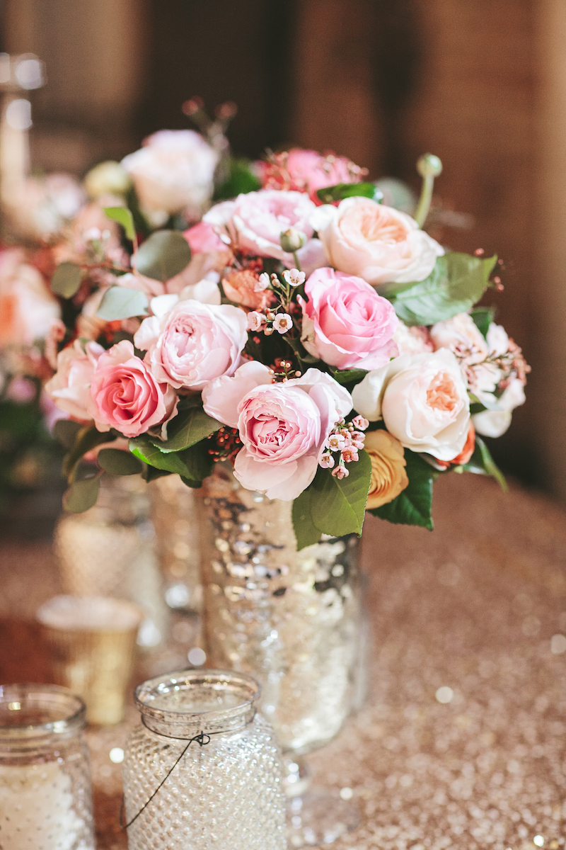 Blush and white rose floral centerpiece