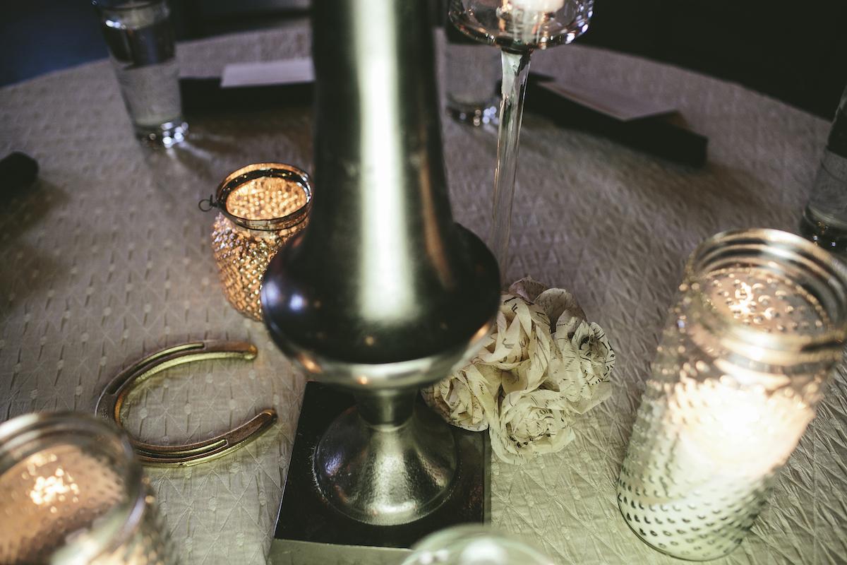 Horseshoe on wedding reception table