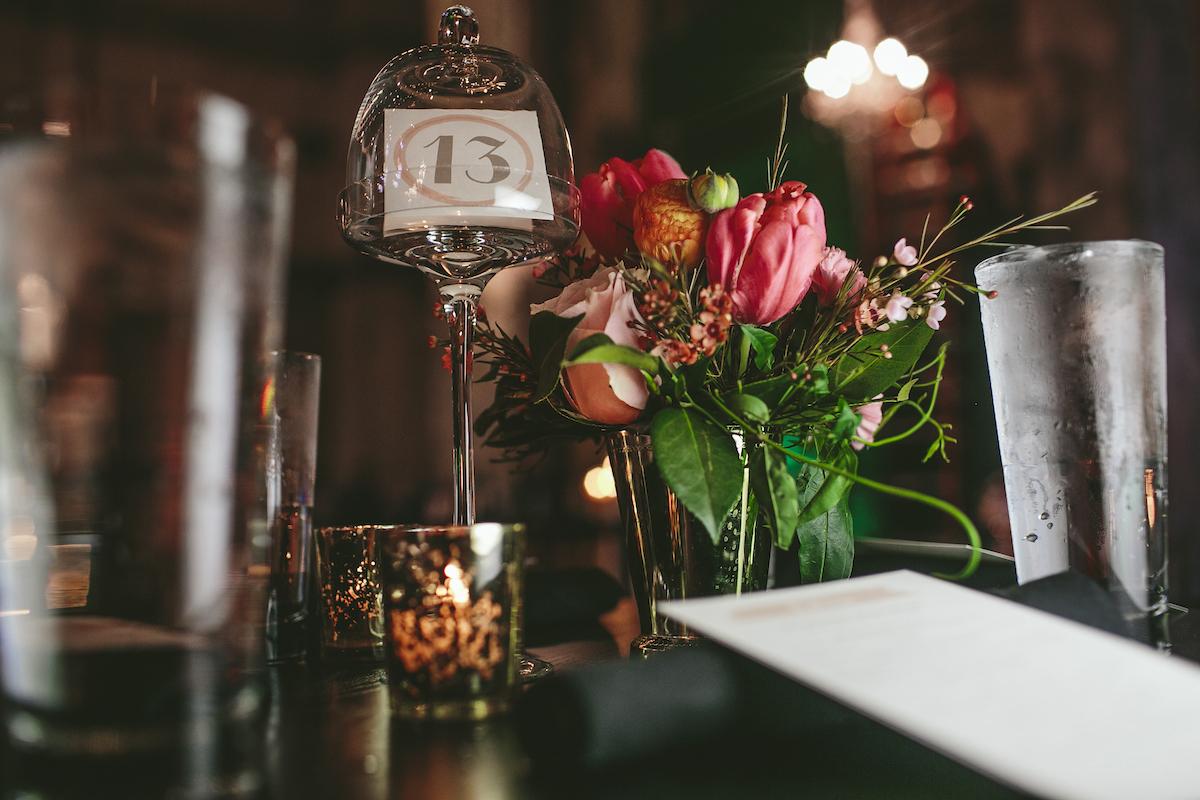 Floral rose centerpiece at wedding