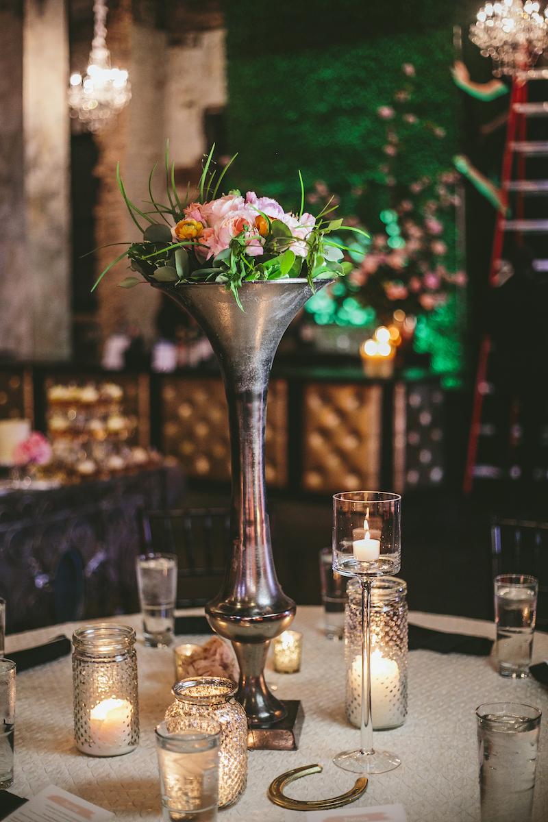Wedding centerpiece at derby-style wedding