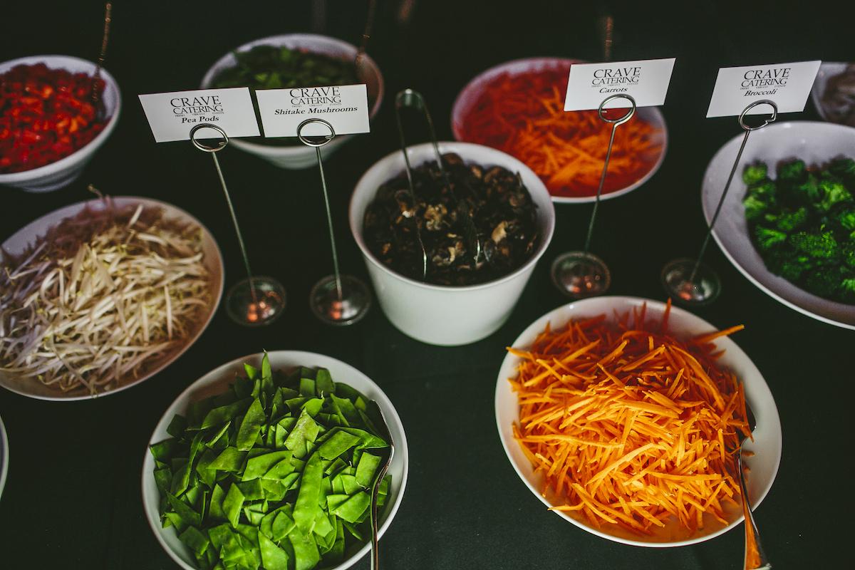 Noodle bowl station at wedding