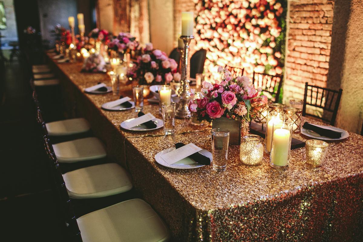Derby-style wedding tabletop decor
