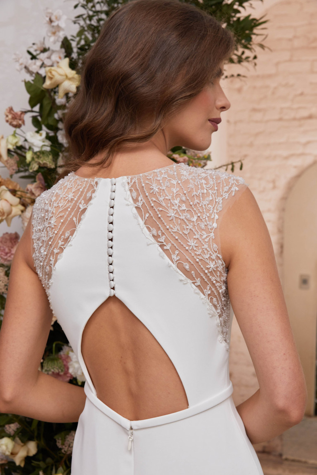 Bridal gown with open back