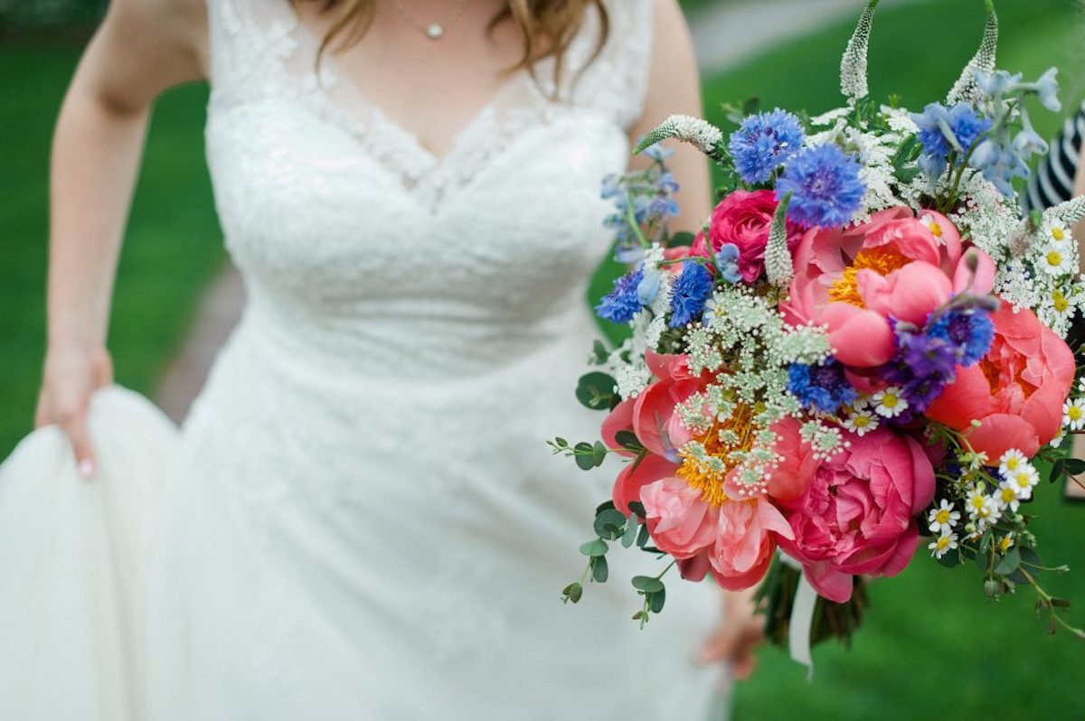 Bouquet with peonies, and pastel tones
