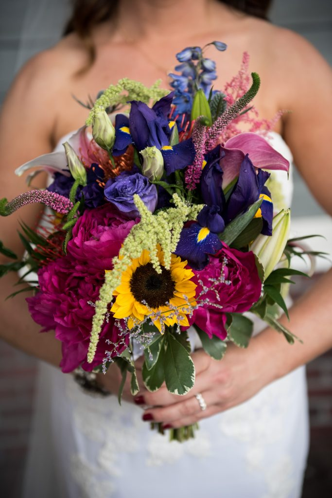 Bridal bouquet with sunflowers and irises