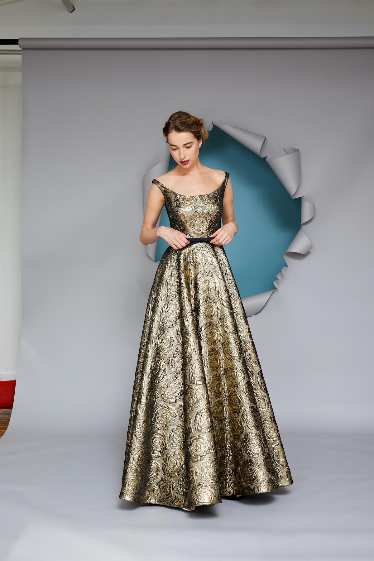 Floor-length off-the-shoulder gold dress for Mother of the Bride