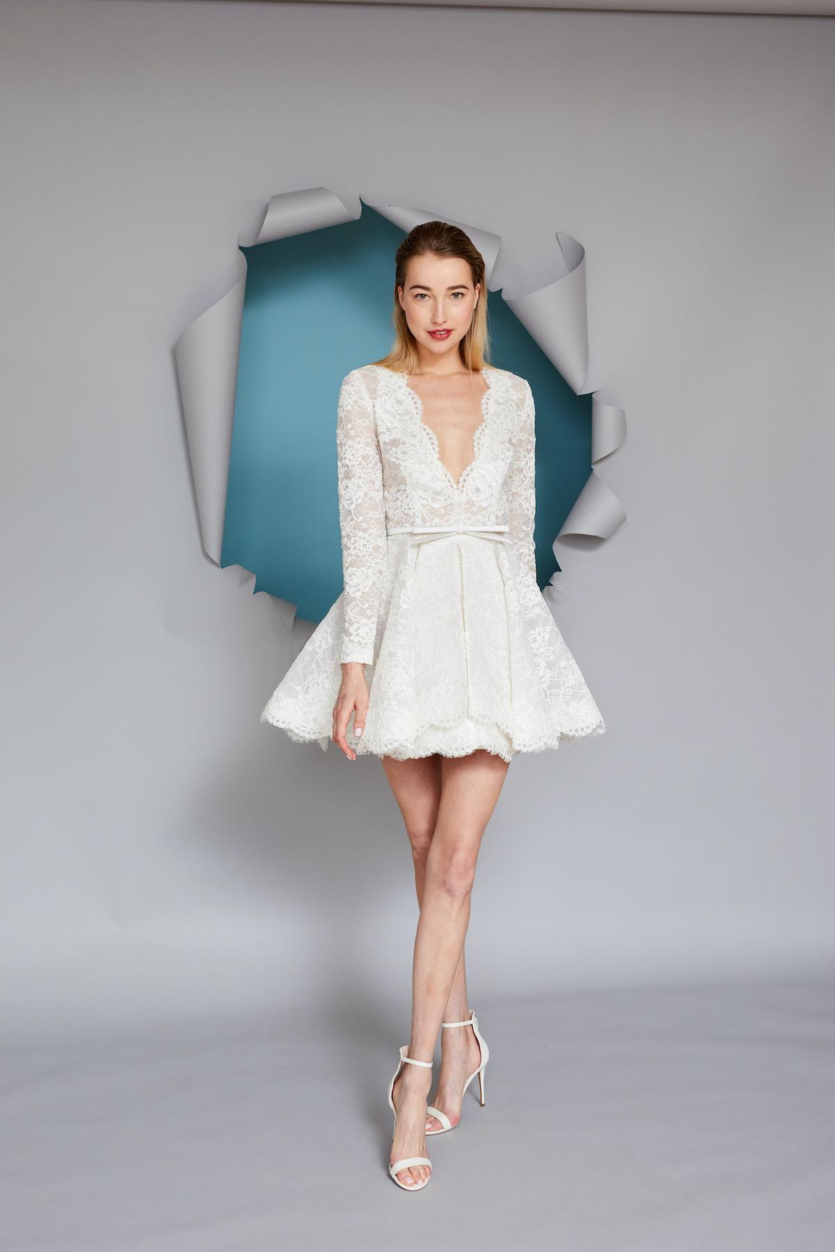 Short, long-sleeved v-neck wedding dress