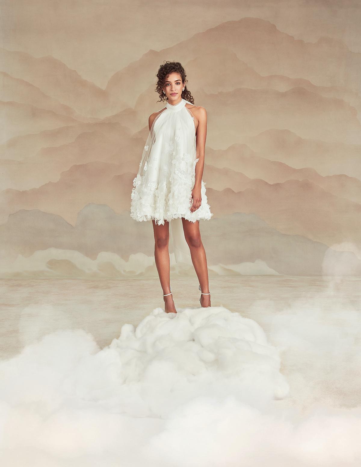 High-neck short wedding dress