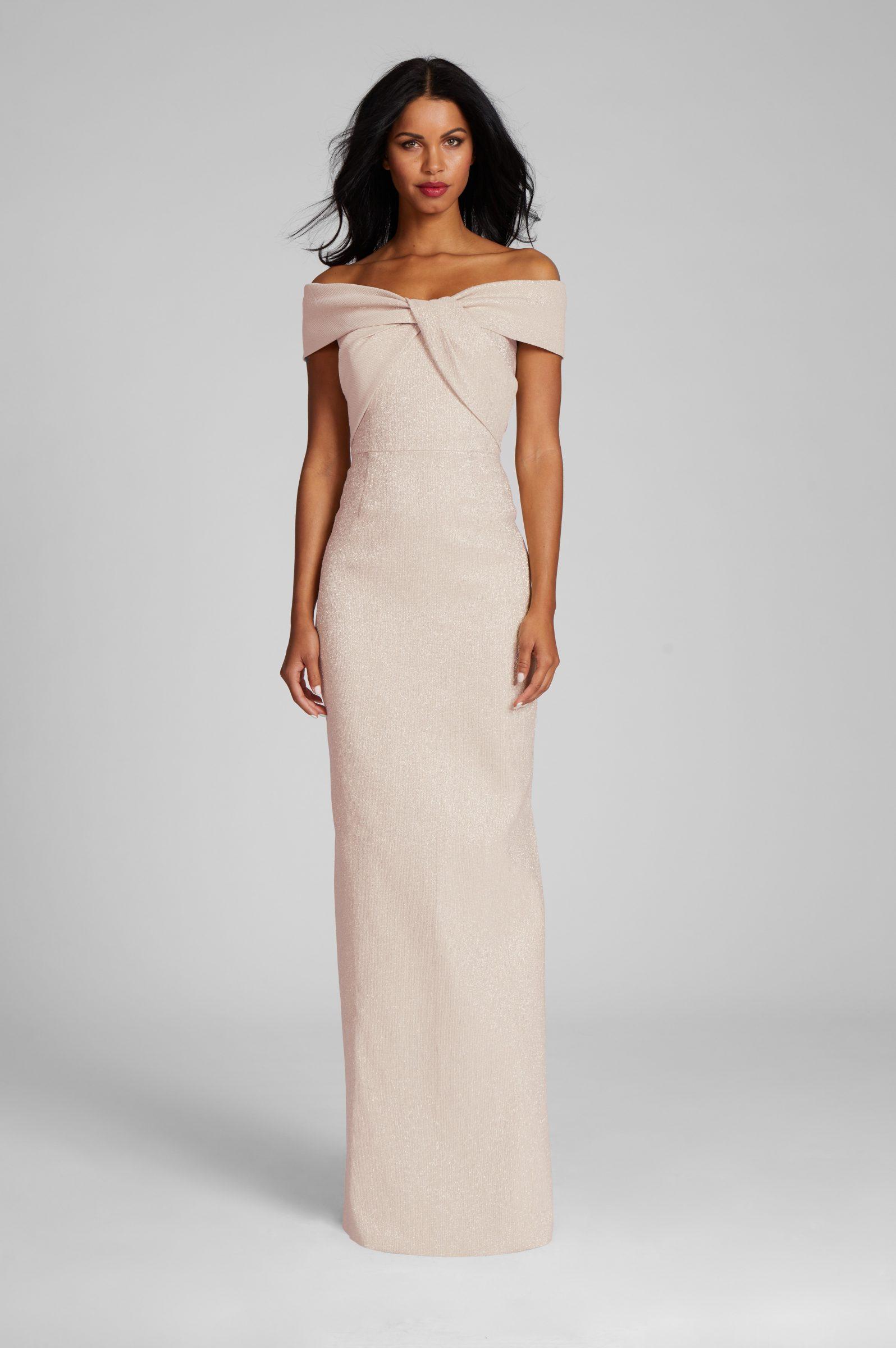 Rose gold off-the-shoulder mother of the bride dress