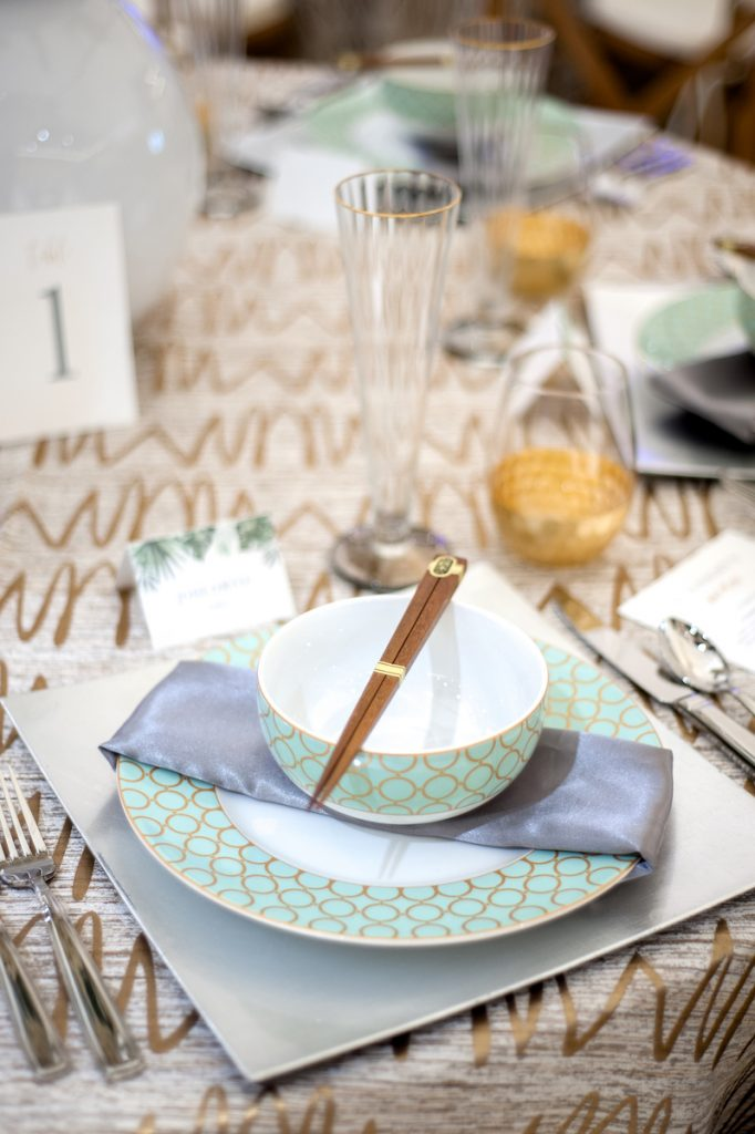 Gold patterned tablecloth