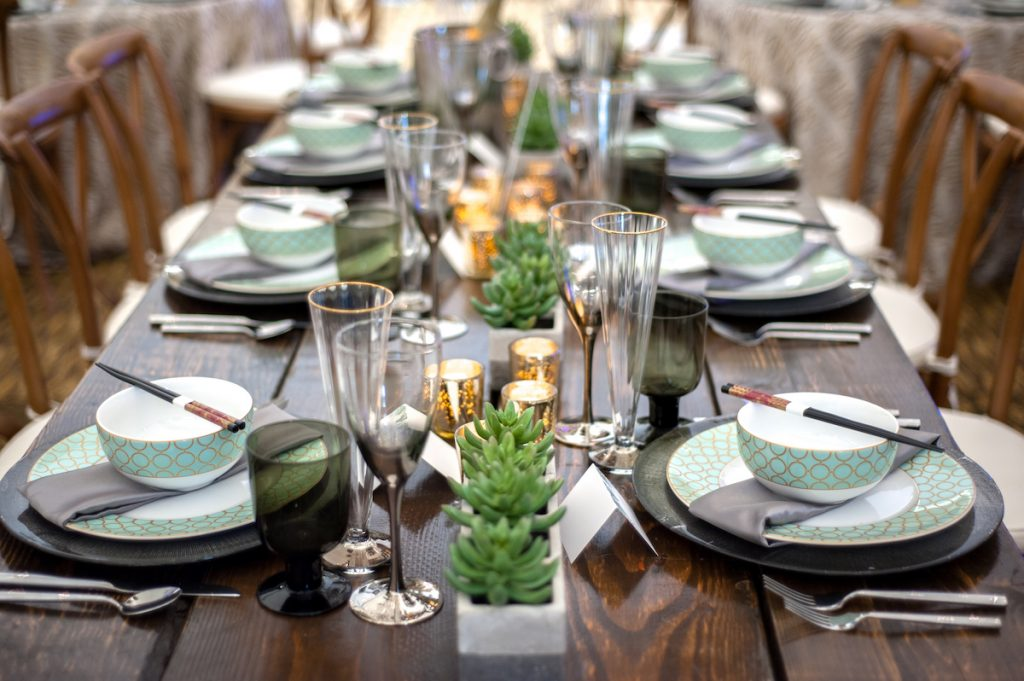 Nature-inspired wedding tabletop