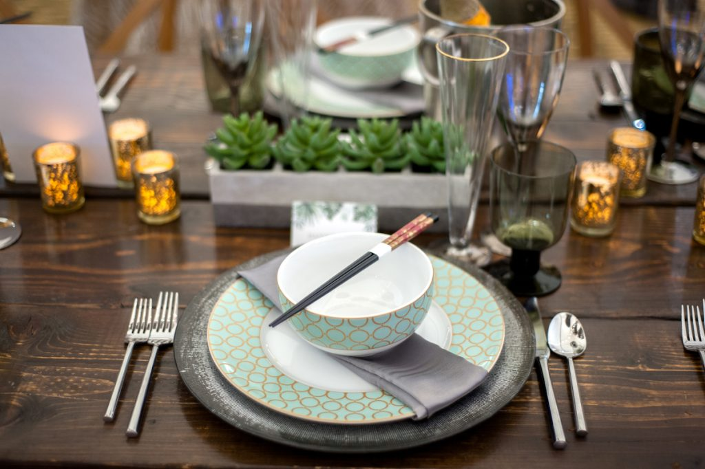 Teal and gold plate and bowl for wedding