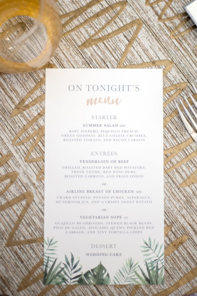 Tropical leaf wedding menu