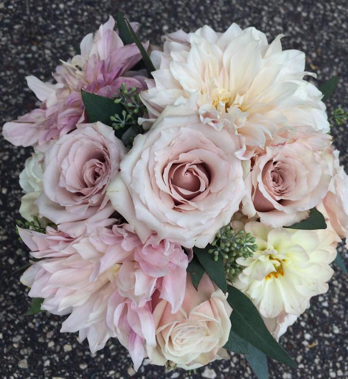 Blush and white pastel wedding bouquet