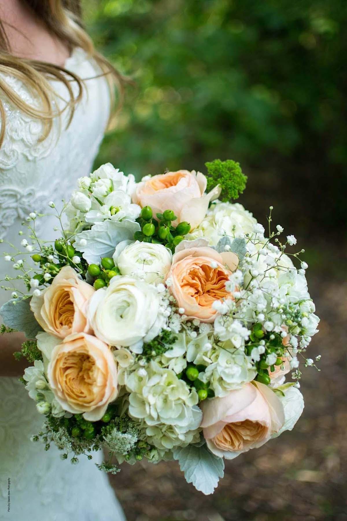 Pastel peach and white wedding bouquet