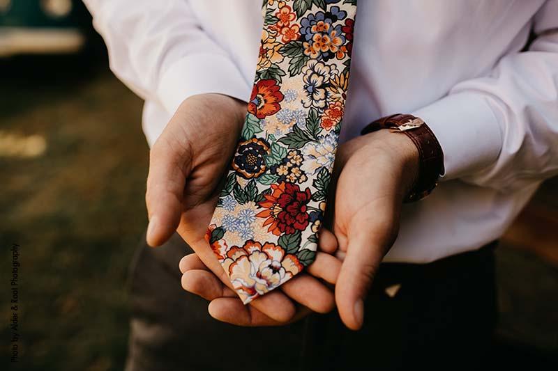 Boho fall wedding floral tie for groom