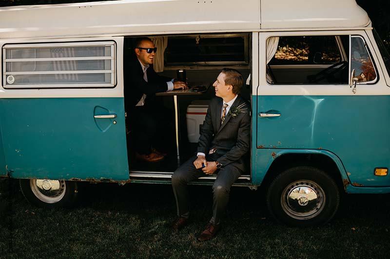 Blue Volkswagen at wedding
