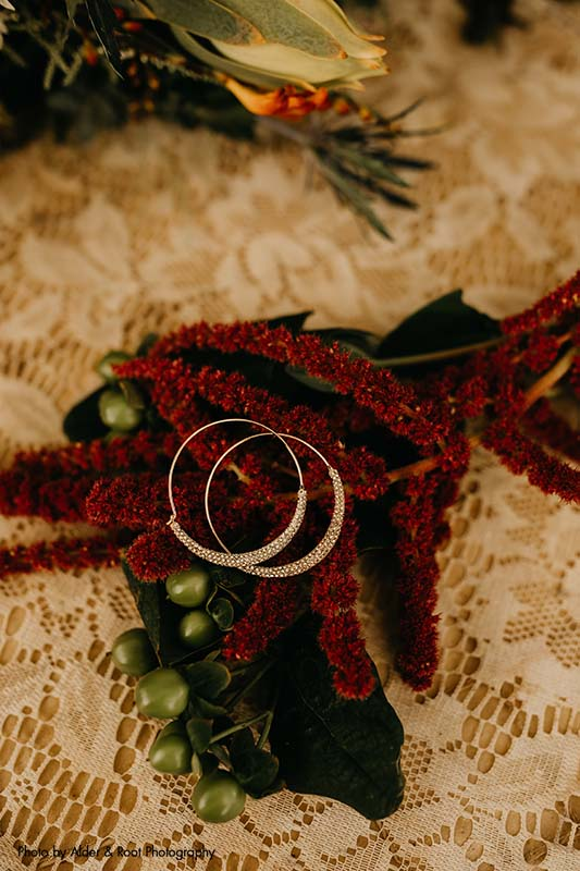 Gold and diamond hoop earrings for bride