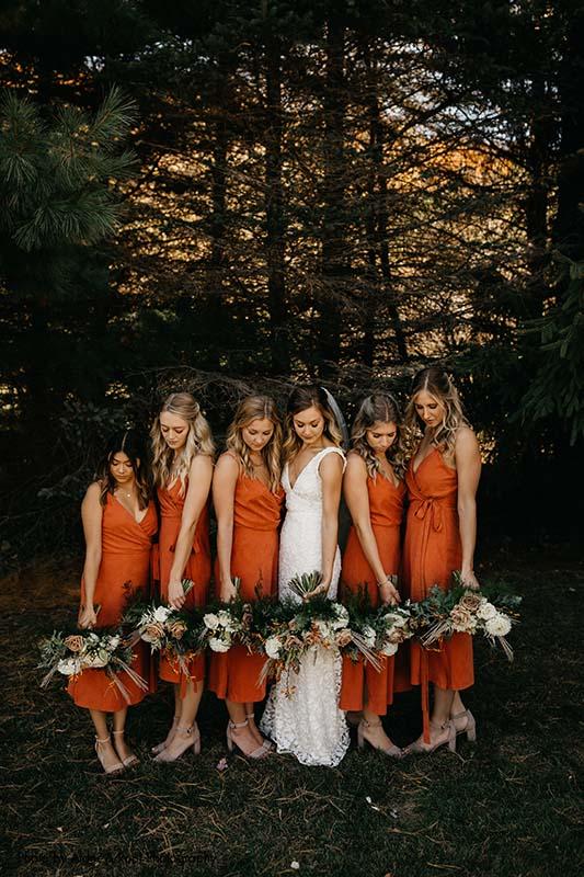 Boho fall wedding bridal party