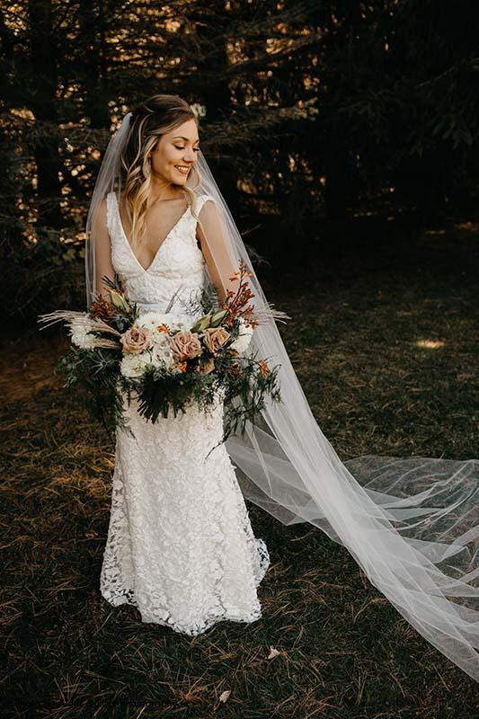 V neck a-line applique bridal gown