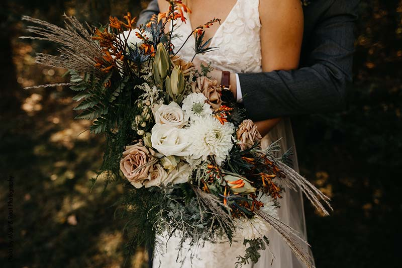 Boho bridal bouquet with dried and fresh floral