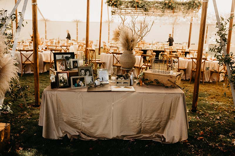 In remembrance table at wedding